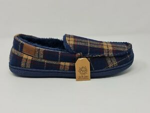 MENS MOCCASIN GENTS TWEED TARTAN FAUX FUR LINED COMFY SLIPPERS SHOES SIZE 7TO 12