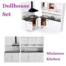 Dollhouse Miniature Burlywood Integrated Kitchen Furniture Set 1:12 Scale Model