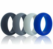 4 Silicone Men Wedding Ring Rubber Band Flexible Sport Gym Antibacterial Size 7