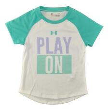Under Armour Girls White & Teal Play On Dry Fit Top Size 2T 4T 4 5 6