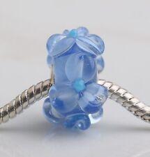 1pcs Big Flowers MURANO GLASS BEAD LAMPWORK Fit European Charm Bracelet QH026