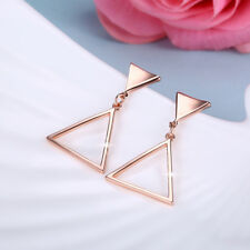 Classic Rose Gold Filled Lovely Triangle Dangle Earrings Wedding