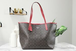 Coach (5696) Brown Red Signature Coated Canvas City Tote Shoulder Bag Handbag