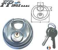 Cadenas Rond Disque 70mm en inox + 2 clés