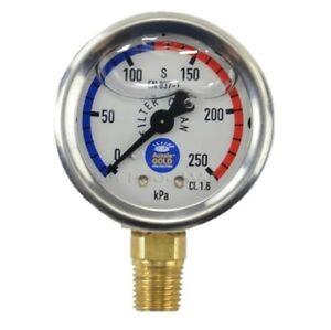 Pressure gauge swimming pool filter liquid oil fill stainless steel lower mount