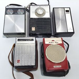 LOT 5 Vintage Transistor Radios BETTER TONE Realistic GENERAL ELECTRIC National