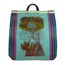 Day of the Dead Katrina Mesh Market Blue Reusable Grocery Recycled Bag Kitchen