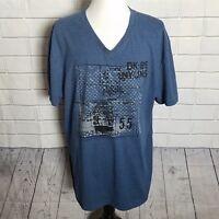 DKNY Men's Graphic Logo T-Shirt Size XXL Blue Short Sleeved V-Neck