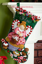"Bucilla Cupcake Angel ~ 18"" Felt Christmas Stocking Kit #86207 Cookies, Candy"