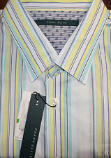 PERRY ELLIS  White Striped Cotton Mens Casual Shirt L NWT* F-474 Ret $65 Box 19