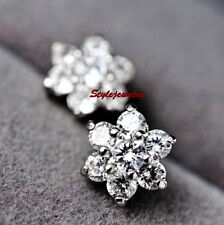 18k White Gold Filled Clear Flower Stud Earring Made With Swarovski Crystal IE22