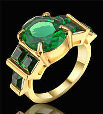 Vintage Green Emerald Ring 18K Yellow Gold Filled Wedding Band Women Size 6