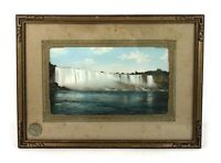 Antique Hand Tinted Photograph Print of Niagara Falls Landscape Framed