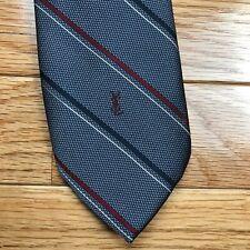 Yves Saint Laurent Classic Vintage Mens Tie Silver Maroon Navy Striped