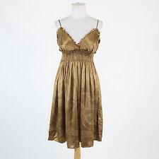 Brown white & black geometric silk satin BCBG MAX AZRIA spaghetti strap dress M