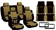 Black & Tan PU Leather Seat Covers Tribal Floor Mats License Plate Frames CS10
