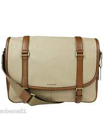 Coach Bleecker Archival Twill/Leather Courier Messenger Bag in Jute/Fawn F71294