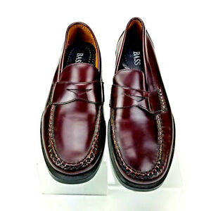 Bass Zevon Penny Loafers Mens 7D Burgundy Leather Made In Brazil