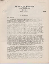 1937 Flier from the Air Line Pilots Association of Chicago Re; Airplane Accident
