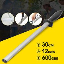 600 Grit 12'' Oval Diamond Sharpening Steel Coated Knife Sharpener Tool 30cm