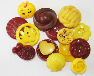 Vintage Plastic Realistic, Pierced Maroon & Yellow Buttons~Flowers, Leaf, Shell
