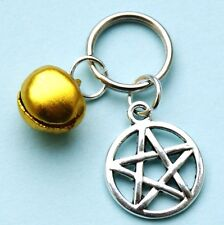 Pentagram Charm for Pet Collar Gold Bell Witches Pentacle New LB24