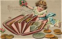 1913 VINTAGE EMBOSSED GIRL & COINS SPILLING PURSE POSTCARD - sent to Zbiroh