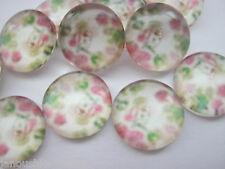 """10  Floral Glass Cabochons 10mm (3/8"""") Round Dome Cabochons Jewellery Settings"""