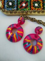 Great Large Retro 60-70's Hot Pink Hand Painted Dangle Earrings, Vintage