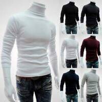 Men Turtleneck Sweater Long Sleeve Solid Slim Knitted Pullover Thin Knitted