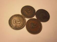 COINS GERMAN 1874 - 1876 ANTIQUES 2 PFENNING DEUTSCHES REICH SET OF 4   #88