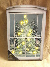 Christmas Glistening Pine Tree Window Front Lighted Canvas Wall Decor Sign