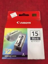 ONE NEW TWIN PACK CANON Black Ink Cartridge 15 BCI-15 2 in Box For i70 i80