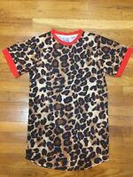 Men Short Sleeve Round Neck Leopard Tee