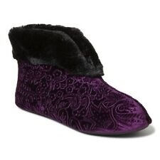 DEARFOAMS VELOUR BOOTIE SLIPPERS (XL 11-12) AUBERGINE Burgundy MACHINE WASH NEW