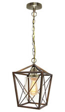 Vintage Brass Glass Shade Hanging Pendant Ceiling Lantern Pub Diner Light M0200