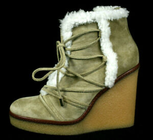MONCLER $740 Beige Suede White Shearling Lined OSJA Wedge Booties 38