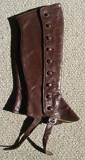 Marrone Vintage in Pelle Marrone Women's Children's Spats Gamba Ghette taglia 6