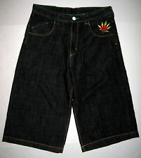 Coogi Ganja Embroidered Marijuana Weed Cannabis Jean Shorts Black 30W 28L