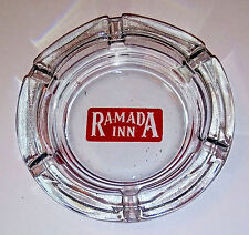 Vintage Glass Advertising Ashtray RAMADA INN with old filled in logo 6 slots