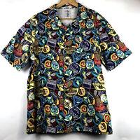 Mens DISNEY Epcot Animal Kingdom Haunted Mansion Pirates Hawaiian Shirt Medium M
