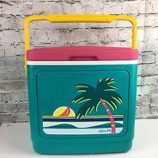 Vintage 90s Retro Igloo 24 Cooler With Palm Tree-teal pink yellow locking top