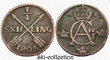 1/4 Skilling 1806 Suède/ Sweden. Gustaf Adolf IV°. Cuivre/ Copper