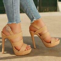 Womens Open Toe Slingback Platform Stiletto Sandals Shoes Ankle Strap High Heels