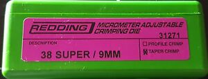 31271 REDDING MICRO-ADJUSTABLE TAPER CRIMP DIE - 38 SUPER/9MM - NEW  FREE SHIP
