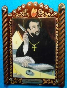 St. Augustine Retablo - Patron of Brewers, Printers,Theologians.