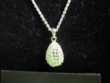 JOAN RIVERS SILVER STONES EGG CHARM PENDANT NECKLACE ADJUSTABLE CHAIN 18 - 21 in