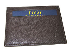 Polo Ralph Lauren Cigar Brown Pebbled Leather ID Card Slim City Wallet