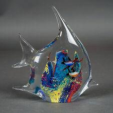 """Art Glass Fish-Shape Aquarium Fish Tank Paperweight Blue 7""""x6.75""""x2.75"""""""