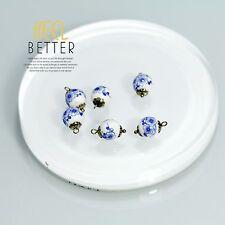 Perle Bleu Porcelaine DIY Pour Boucles Collier Bracelet Doré LOT de 10 Pieces